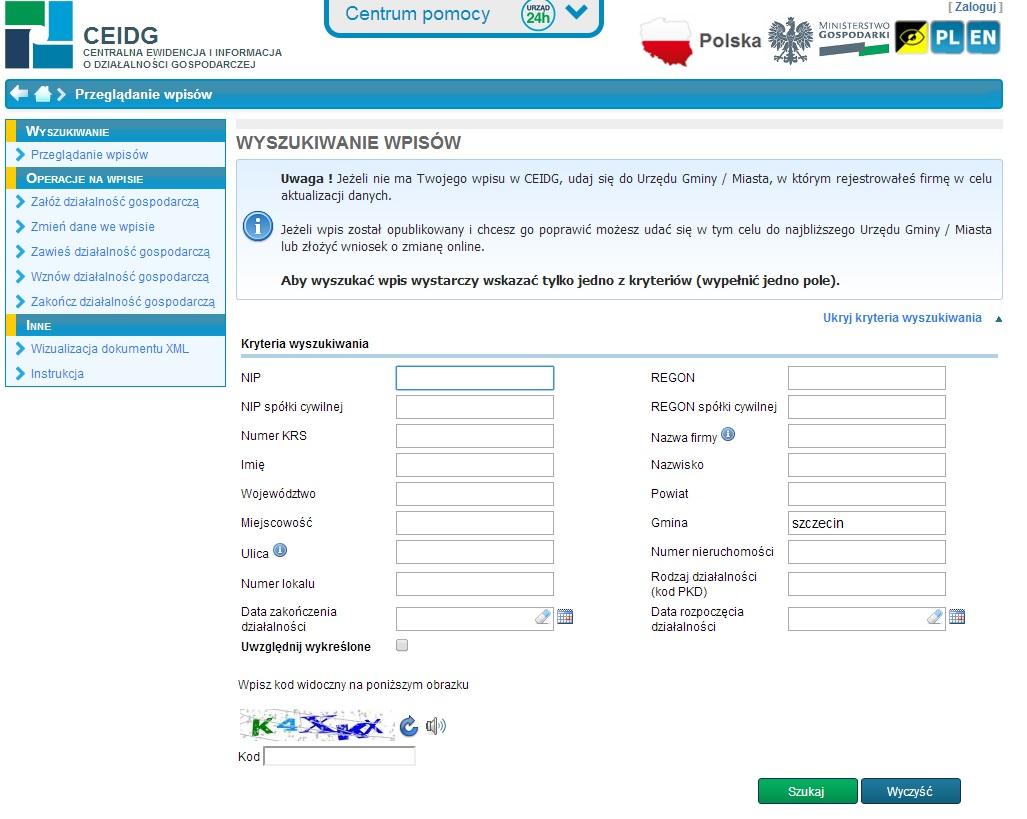 CEIDG jaki adres zamieszkania przedsiębiorcy